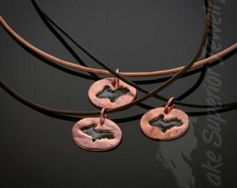 Michigan's Upper Peninsula Copper medallion pendant 240