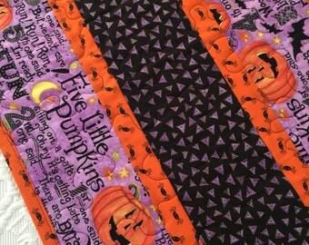 Halloween Pumpkin Table Runner Quilt, Spiders, Bats Quilt, Orange, Black, Purple, Quiltsy Handmade