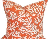 BEACH DECOR, Nautical Pillow, Orange Pillow Cover, Decorative Pillow, Throw Pillow, Pillow, OUTDOOR Pillow, All Sizes, Orange Euro, Cushion