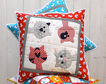 Kitty Cats cushion applique pattern PDF