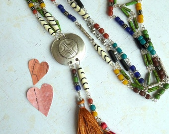 Necklace, Double Strand Multi Beaded Necklace, Long Multi Coloured Pendant Necklace, Rustic Boho Style Tassel Necklace, Long Beaded Necklace