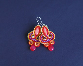 soutache earrings, red earrings, gift for woman, embroidery earrings, orange earrings, dangle earrings, gift for girl, mother's day