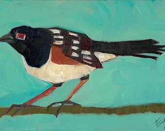 Towhee Original Oil Painting