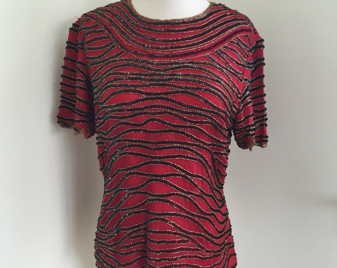 1990's Beaded Sequins Blouse Red Silk Evening