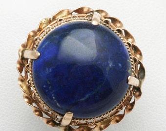 Estate 14k rose gold Blue Lapis Lazuli Cocktail Ring Large Round Vintage