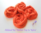 Dyed Merino Top from Ashland Bay - 2 oz of 21.5 Micron Combed Top for Spinning or Felting in Spice - Reddish Orange Merino Top/Merino Roving