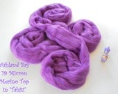 Dyed Merino Top from Ashland Bay - 2 oz of 19.5 Micron Extra-Soft Combed Top for Spinning or Felting in Tahiti - Medium Purple Merino Top