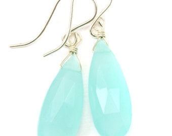 Aqua Blue Chalcedony Earrings 14k Gold Filled or Sterling Silver Long Teardrop Smooth Puffed Briolette Faceted Soft Pale Blue  Drops