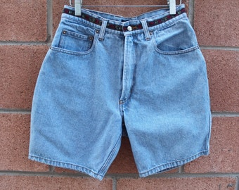 Light color jean denim high waist shorts size 28
