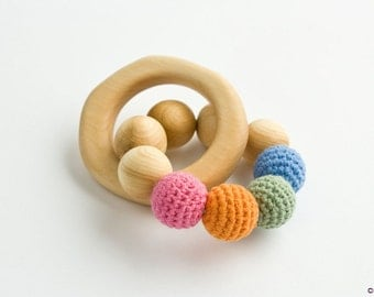 Organic Wooden Teething Ring, Wooden Rattle, Baby Toy - New Baby Gift, Shower Gift - FrejaToys