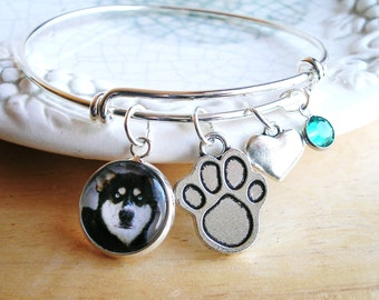 Pet Photo Charm Bracelet Dog Photo Memory bracelet Cat Lover Gift ADD NAME Charm Expandable Picture Bracelet Paw Print Charm Gift
