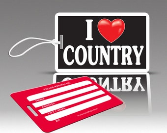 2 iHEART COUNTRY Luggage Tags