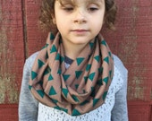 Toddler Infinity Scarf: Mocha & Teal Traingles Jersey