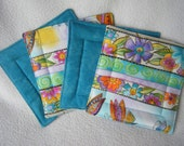 "Colorful Laurel Burch ""Colorworks"" Print Fabric Coasters/Mug Rugs - Set of 4"