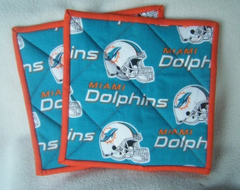Large Dolphin's Football Fabric Quilted Potholders - Set of 2 - HANDMADE BY ME