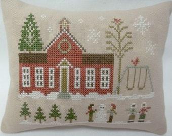 Schoolhouse Cross Stitch Mini Pillow Winter Shelf Pillow Hometown Holidays