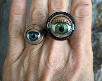 Upcycled sleepy blinking doll eye adjustable ring brown/blue eyes available