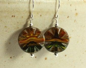 Earth Tone Glass Bead Earrings, Drop Earrings, Dangle Earrings, Brown, Gold, Red, Black
