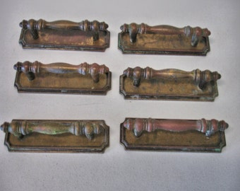 Vintage Lot of 6 Brass Pull Handles Mid Century Modern With Back plates Lot no. 926G
