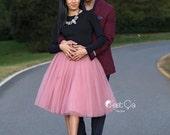 Clarisa - Gray Pink Tulle Skirt, Mauve Tulle Skirt, Extra Puffy Tulle Skirt, Princess Tutu, Midi Tutu, Adult Tutu, Bridesmaids Skirt