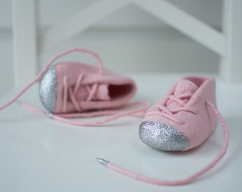 Glitter Baby Girl Booties - Light Pink Merino Footwear - Newborn Essentials - Pastel Pink Booties - Soft Pram Shoes - Girl Crib Booties
