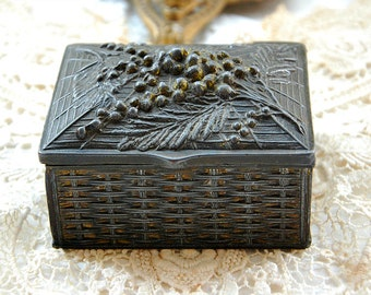 Antique French, jewelry casket, jewellery box, mimosa design, metal trinket box, vintage French box, boudoir box, gift for her, French gifts