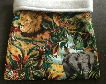 Jungle Animals Cotton and Grey Fleece Snuggle Bag