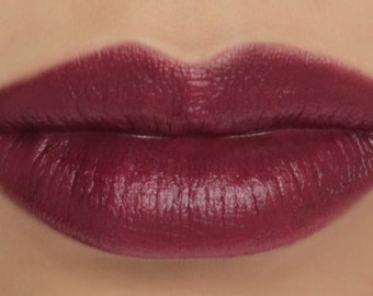 "Vegan Cream Blush and Lip Color Stick - ""Black Forest"" (dark reddish plum/wine lipstick / cream blush)"