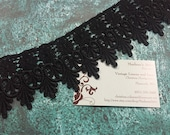 Black Venise lace, 1 yard of 2 3/4 inch Black Venise lace trim for wedding, bridal, goth, jewelry, couture by MarlenesAttic - Item 3S