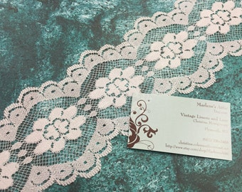 1 yard of 4 inch White galloon chantilly raschel lace trim for bridal, garter, wedding supplies, couture by MarlenesAttic - Item 3T