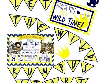 Where The Wild Things Are Baby Shower Party Pack - Download - Includes Invitation - Thank You Card - Banner - Cut Outs