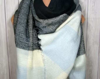 SALE Blanket Scarf for Women, Sky Light Blue, Gray, Black, White, Zara Tartan Inspired, Women's Oversized Large Winter Scarves