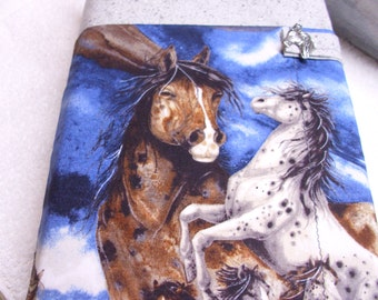 Wild horses Bible case cover tote holder purse accessory, padded protective reusable ecofriendly blue gray horse lover gift journal