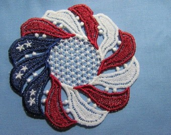 Red, White and Blue Lace Doily Coaster