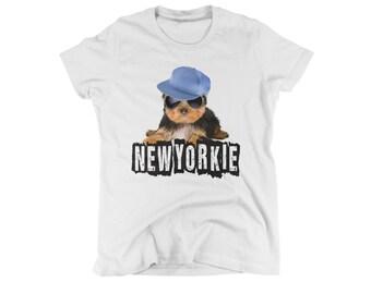 yorkie shirt ladies tees cute dog shirts humorous womens t-shirt new yorkie ny t shirt i love new york gift new yorker small medium large xl