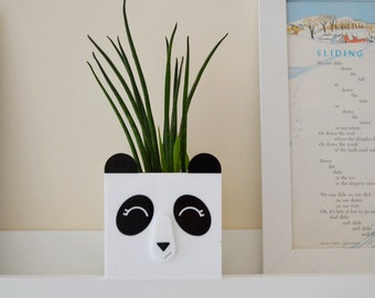 Panda bear succulent planter plant pot in white