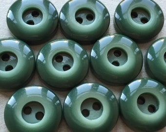 small nos chunky vintage dark pine green buttons with concave centers--matching lot of 10