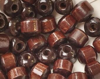 shiny polished opulent vintage eco friendly milk chocolate dark chocolate wood barrel beads--matching lot of 35