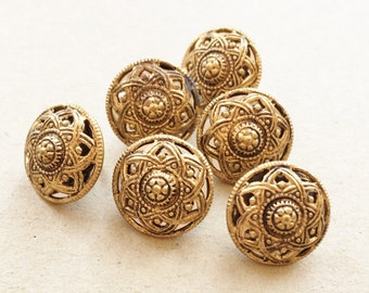vintage recycled decorative detailed gold tone metal mildly aged patina shank buttons with reflective insides--matching lot of 6