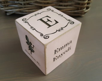 Wooden cube etsy personalized baby gift custom baby gift engraved baby nursery decor 3 in negle Gallery