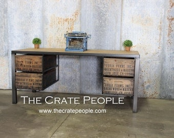 The 4 Zoria Crate Desk -- Custom Made Crate Furniture -- Vintage Crates and Barn Wood