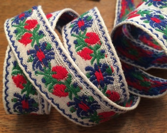 Vintage Jacquard Embroidered Trim, Blue Flowers, Red Berries on White - 1 Inch Wide - By the Yard