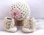 Baby Girl Hat and Booties, Baby Girl Clothes, Hat and Bootie Set, Girl Baby Shower