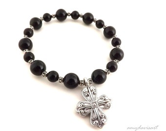 Cross Bracelet for Her, Christian Jewelry, Black Bead Bracelet, Women's Bracelet, Cross Charm Bracelet, Confirmation Gift, Mother's Day Gift