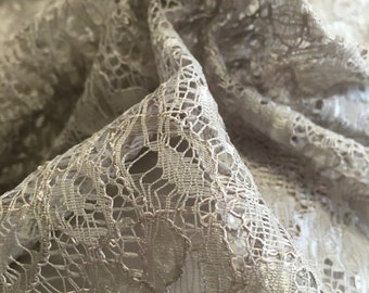 """58"""" Width- Pewter Gray Alencon Lace Fabric"""