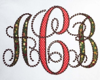 Coupon Codes! Monogram Embroidery Applique Alphabet Running Stitch Font Embroidery Design AL017