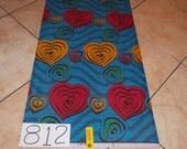 African fabric (1) one yard/ African dress fabric/ African clothing fabric/ Blue and heart printed fabric/ African home decor fabric