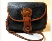 YEAREND SALE Dooney & Bourke Black and British Tan Pebbled All Weather Leather Equestrian Vintage Purse 1980's
