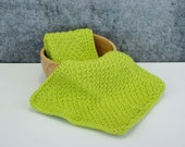 Lime Green Spa Set, Crochet Spa Cloth, Cotton Wash Cloth Set, Crocheted Homegoods, Eco Friendly Spa Cloth, Bathroom Spa Cloth, Set of 2