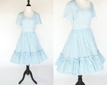 Vintage 1960's Blue Gingham Square Dance Dress - Blue country folk Dress - cotton summer frock - ladies size medium